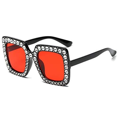 SamuRita Elton Square Diamond Rhinestone Sunglasses Novelty Oversized Celebrity Shades(Black Frame/Red Tinted Lenses) ()