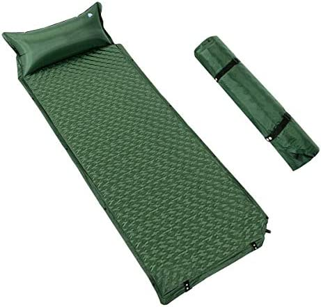 Giantex Camping Sleeping Pad w Pillow - Ultralight Self Inflating Camping Mat for Backpacking, Traveling and Hiking, Compact Carrying Bag, Durable Waterproof Air Sleeping Pad