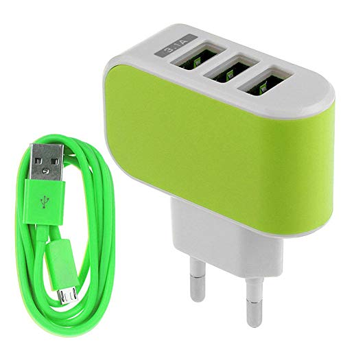 ❤️Ordee❤️ 3.1A Triple USB Port Wall Home Travel AC Charger Adapter EU + Micro USB Cable (Green)
