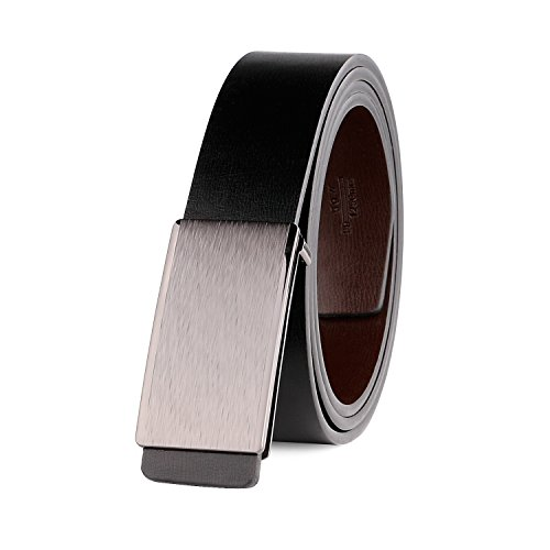 [JASGOOD Genuine Leather Dress Belt for Men Reversible Belt with Matte Plaque Buckle] (Leather Plaque Buckle Belt)
