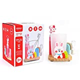 Toothbrush Timer Toy - Children Three Minutes Hourglass Tooth Cup Holder (Pink)