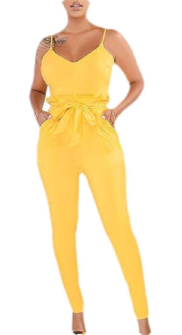 Jmwss QD Women Casual Jumpsuits Spaghetti Strap Bodycon Sleeveless Bodycon Pants