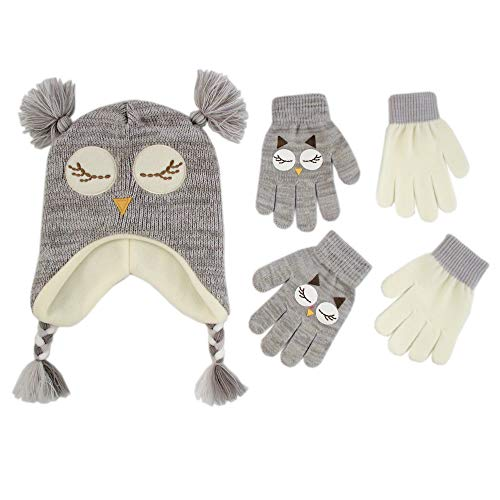 ABG Accessories Assorted Critter Designs Hat and 2 Pair Gloves or Mittens Cold Weather Set, Little Girls Ages 2-7 (Owl Design - Age 4-7 Gloves Set)]()