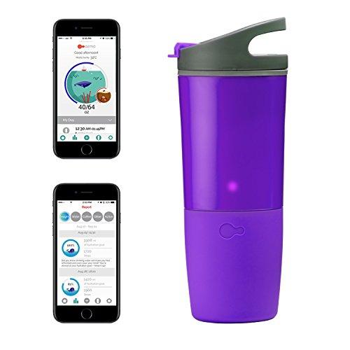 ozmo Water Hydration Tracker, Smart Water Bottle, Smart Coffee Cup, Compatible Fitbit/Apple Health (Purple)