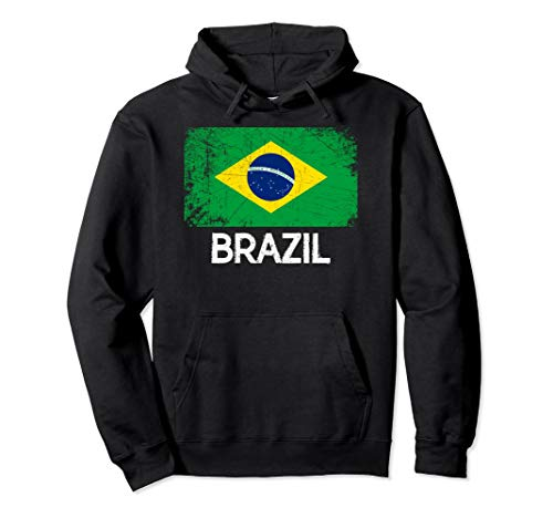 Brazilian Flag Hoodie | Vintage Made In Brazil Hooded Gift