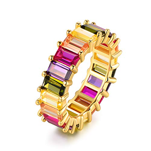 Multi Color Crystal Swarovski Ring - Barzel Gold Plated Emerald-Cut Multi Color Swarovski Made by Crystal Eternity Ring (6)