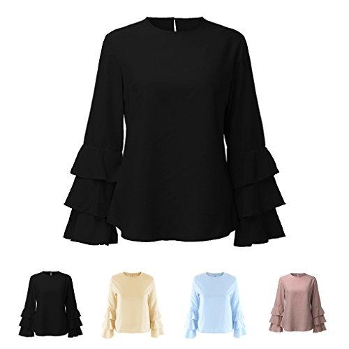Masterein Las camisetas largas ocasionales de la manga de las mujeres del verano sueltan las faldas de la colmena de la hoja de Lotus Negro