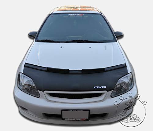 Bra Auto Hood - Cobra Auto Accessories Car Bonnet Mask Hood Bra + Civic Logo Fits Honda Civic 1999 2000 99 00 EK