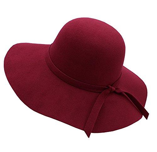 ZZCC Women's Foldable Wide Brim Beach Retro Fedora Floopy Wool Felt Hat Vintage (Sale Vintage Wool)