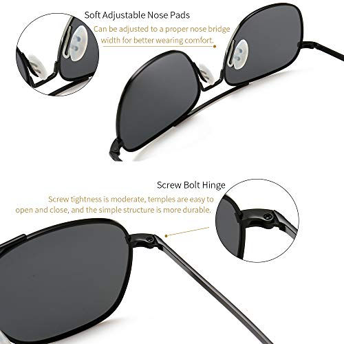 46485db3b3e7 SUNGAIT Men's Military Style Polarized Pilot Aviator Sunglasses - Bayonet  Temples (Black Frame/Gray
