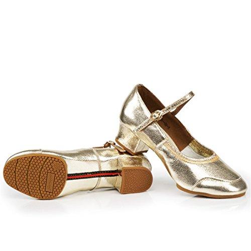 fondo latino cuero baile Oro de salón de baile blando de tacón seasons WXMDDN Zapatos oro de de zapatos zapato four de Pwqw8tpx