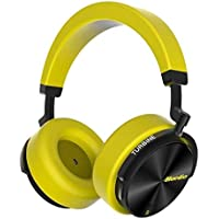 Bluedio T5S Bluetooth Headphones Over Ear with Mic, Active Noise Cancelling Headphones 57mm Drivers Wireless Headsets for Travel Work TV PC Cellphone, 25 Hours Playtime, Yellow