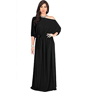 53e72125b6ee KOH-KOH-Plus-Size-Women-Long-Sexy-One-Off-Shoulder-Flowy-Casual-34-Short- Sleeve-Cocktail-Wedding-Party-Guest-Maternity-Gown-Gowns-Maxi-Dress-Dresses-Black-3  ...
