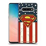 Official Superman DC Comics U.S. Flag Logos Hard Back Case Compatible for Samsung Galaxy S10
