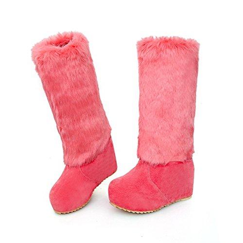 Amoonyfashion Donna Tacco Tondo Tacco Alto Stivali Con Smerigliato Solido Con Piattaforma Watermelonred