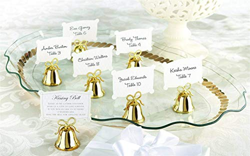 Kate Aspen Place Card Holders (Place Cards Included) - Set of 24 - Table Number Holder for Weddings, Gold Kissing Bells Photo Holder for Table Assignments at Bridal Showers or Anniversaries