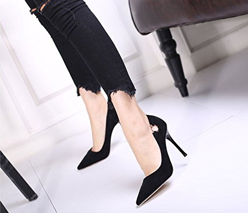 Temperament Mouth Comfort Elegant Sharp Fine High Heel Shoes Sexy Black Single Leisure 10Cm Work Shallow 38 MDRW Heel Fashion Shoes Head Career Spring Lady Cq6wC5xZ