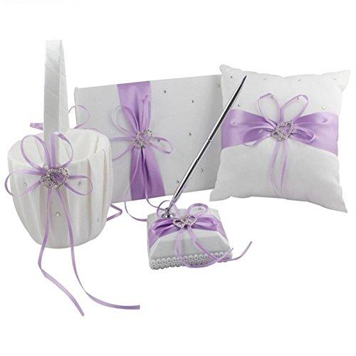 VAlink 4Pcs/lot Romantic Wedding Decoration Set Rhinestone Stain Ribbon Wedding Ring Pillow+ Girls Flower Basket +Guest Book + Pen for Wedding Party Favor