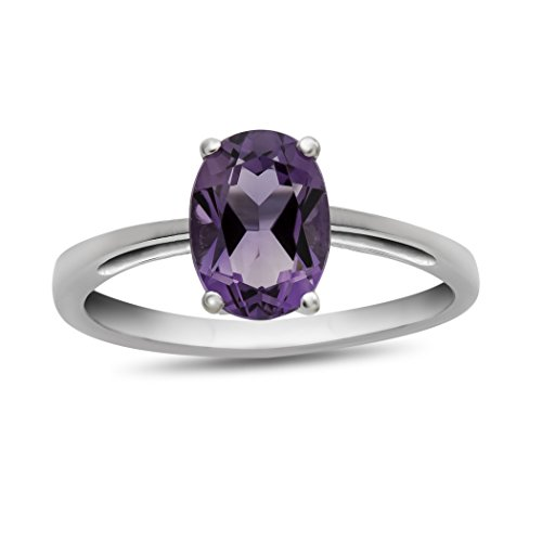 Finejewelers 10k White Gold 7x5mm Solitaire Oval Amethyst Ring Size 8