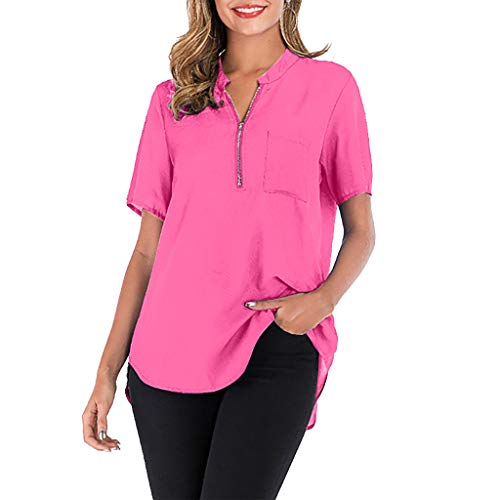 Long Sleeve Blouse Tops Shirt Summer Blouse Deep V-Neck Low Cut Cute Color Tops Flowy Camisole for Women Hot Pink