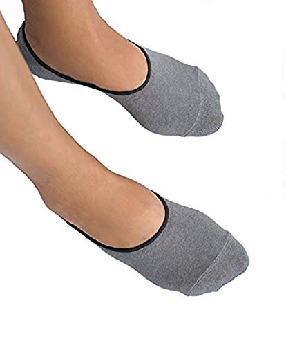 Thirty48 Men No-show Loafer Socks, Boat Shoe Liners with CoolPlus, Non-Slip Grip,Medium/Large (10 - 12),Light Gray & White (6 pairs)