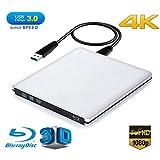 Ploveyy Blu ray Drive DVD Drive External USB 3.0 Ultra Slim 4K 3D Blu Ray Player Writer Portable BD/CD/DVD Burner Drive with Polished Metal Chrome for Mac,Windows 10,XP,Vista,Laptop,PC (Silver-)