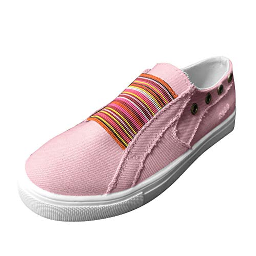 Fashion Comfortable for Walking,LYN Star❀ Women's Canvas Sneakers with Decorative Zippers Summer Casual Shoes Pink