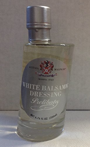 """Prelibato - White Dressing - Aged 5 - 6,8 oz. (200 ml) 2 White Balsamic Condiment (vinegar). Aged 5 years """"Prelibato"""" is natural, we do not add other ingredients, it contains most of grape Suggested for use on all types of fish, mollusks, caviar, and fresh fruit."""