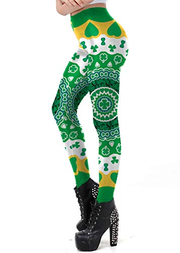 GRACIN Womens Green St Patricks Day Leggings, Funny St. Paddy's Day Shamrocks Tights Sretch Workout Pants(L, Shamrocks)]()