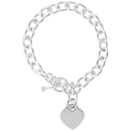 Sterling Silver Oval Link Rolo w/ Heart Tag Bracelet Handmade, 8 inch long