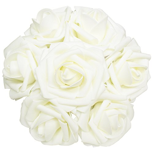 Artificial Flowers 50pcs Real Looking Artificial Roses for Wedding Bouquets Centerpieces Bridal Party Baby Shower Decorations DIY- Ivory - Ivory Centerpiece