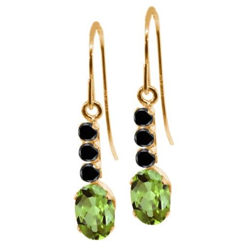 120-ct-oval-green-peridot-black-diamond-10k-yellow-gold-earrings