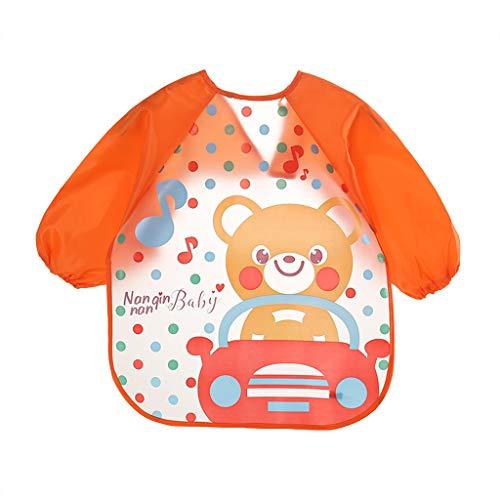 Lisin Baby Toddler Boy Girl Bib Long Sleeve Letter Waterproof Feeding Art Apron Bib Smock (C)