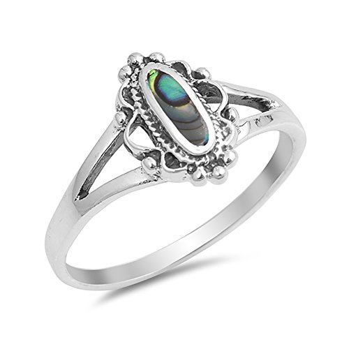 g Oval Simulated Rainbow Abalone 925 Sterling Silver (Open Shank Ring)