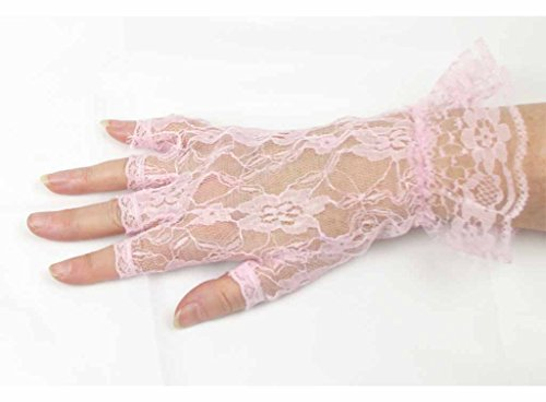Color Lace Gloves (Lace Luxe Wrist Length Half-Finger Gloves In 6 Colors Greatlookz Colors: Light Pink)
