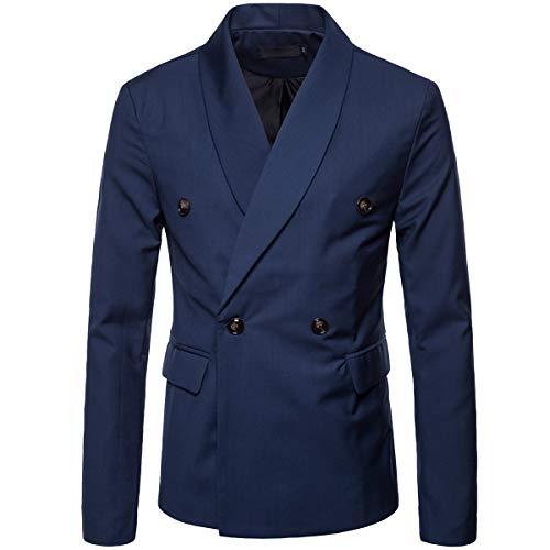 Cottory Men's Double Breast Pure Color Business Blazer Suit Shawl Lapel Dress Coat Blue Small