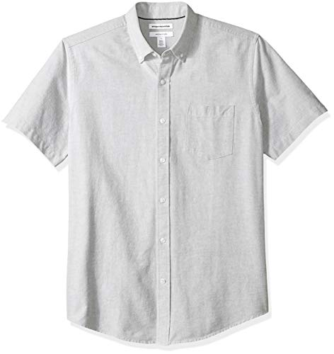 Amazon Essentials Men's Regular-Fit Short-Sleeve Pocket Oxford Shirt, Grey, ()