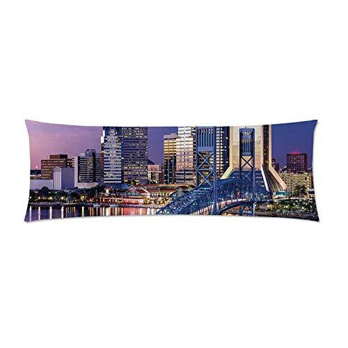 C COABALLA United States Comfortable Rectangular Pillowcase,Urban Cityscape Bridge Office Buildings Jacksonville Florida for Home,Double Side Print 60
