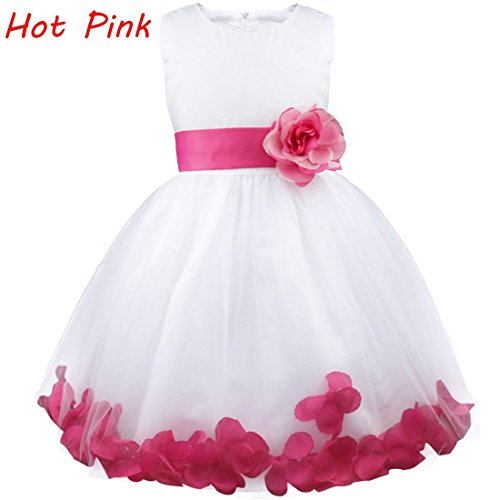 Princess Dress Pageant Kids Flower Infant Tulle Petals Formal Burgundy Girls Wedding ECqSxOwp