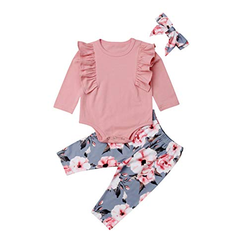 Baby Girls Flying Long Sleeve Romper Tops Denim Jeans High Waist Pants Bow Tie Waistband 2 PCS Outfits (2-3 Years, Pink & Blue) ()