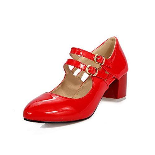 VogueZone009 Women's Buckle Round Closed Toe Kitten Heels PU Solid Pumps-Shoes Red SIRety