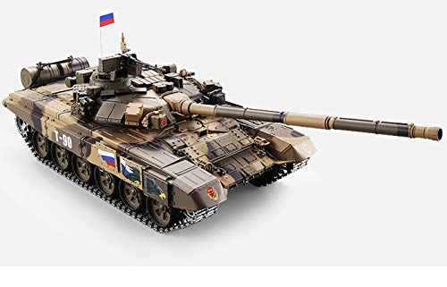 Remote Control 2.4Ghz 1/16 Scale Russian T-90 Main Battle Air Soft RC Tank Smoke  Sound (Upgrade Version w/ Metal Gear  Tracks)