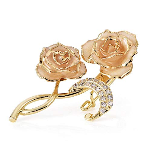 Filfeel Bouquet Brooch Pins 24K Gold Plated Rose Flower Brooch Clips for Bridal(White)