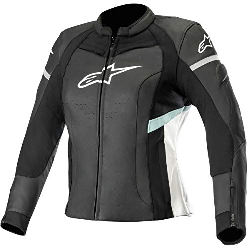 Kira Jacket Black Teal AlpinestarsBlouson White Stella Moto Leather kXTiZOPu