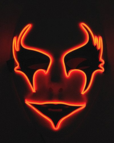 Cage-YYL Frightening Wire Halloween Cosplay LED Light up Mask for Festival Parties (Clown 1, Red)