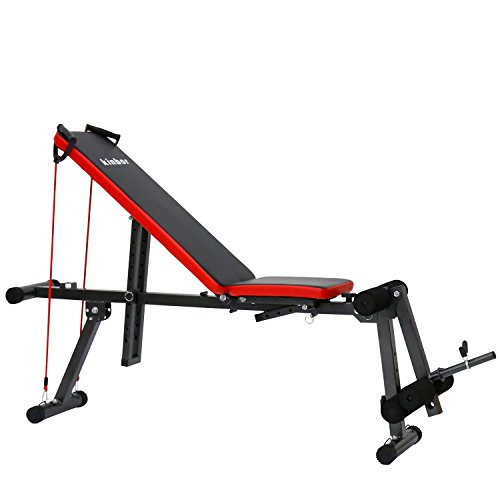 Kinbor Weight Bench Adjustable Sit Up Multifunctional Workout Abdominal Exercise Bench Board Father's Day Gift, Black by Kinbor