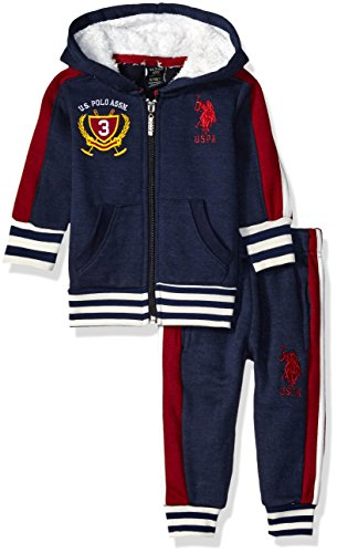 U.S. Polo Assn. Baby Boys' Fleece Hooded Jacket and Jog Pant, Navy, 12 Months ()
