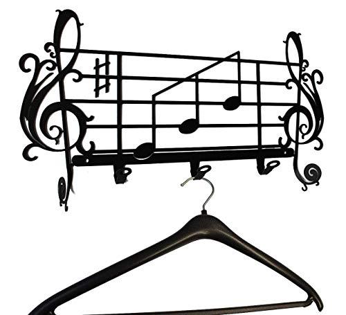 Coat Hook/Rack Hanger - Sheet Music - Wall Mount - Beautiful Dressing Gown Home Hook - Robe Hanger - 5 Hooks - Metal ()