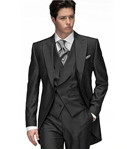 Mys da uomo su misura lunga coda Forcuta Peak risvolto Blazer Suit gilet pantaloni set nero