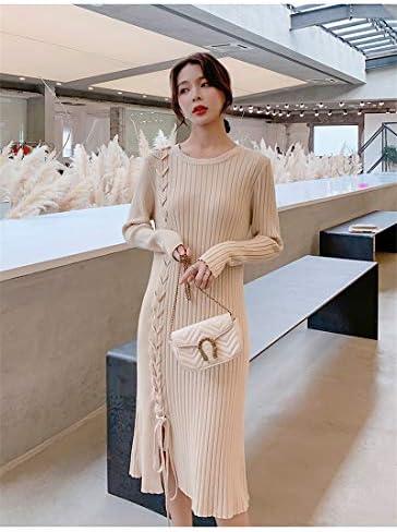 MIBKLPG Casual Side Lace Up Dress Femmes Straight Sweater Dress Loose Jumpers Dress Female Knit Dress L Apricot